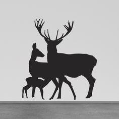 Deer Wall Decals | deer family wall decal Deer Themed Nursery, Baby Deer Nursery, Deer Family, Family Wall, Silhouette Cameo Projects, Silhouette Design, Deer Stencil, Stencils, Wall Sticker