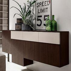 Beautiful Dark Wooden Wall Unit 'Art'. Dark wood with a light shade. Beautiful piece and materials. My Italian Living.