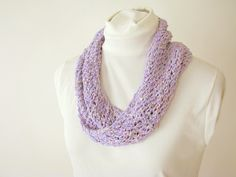 Lavender Infinity Summer Scarf - Handknit Cotton Lace Twist Scarf for Female Kid or Adult by ByTheBy on Etsy https://www.etsy.com/listing/105157939/lavender-infinity-summer-scarf-handknit