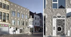 This building facade is made up of decorative rosette concrete panels inspired by a pattern found on bank notes.