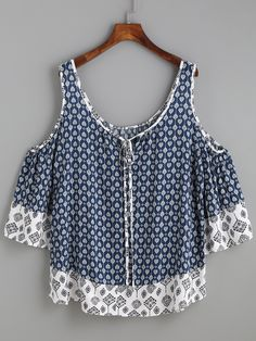 Navy Ornate Print Contrast Trim Cold Shoulder Top -SheIn(Sheinside)
