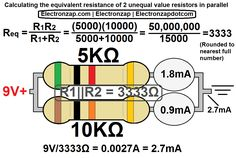 Calculating 2 parallel resistors with different values.