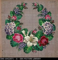 Embroidery, Germany 19th century. Garland of roses, lilies