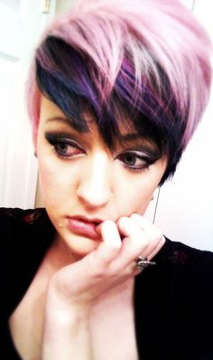 Purple Colored Short Layered Haircut....wish I could pull this off, my husband would have the biggest fit!! -rcc