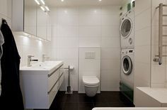 Interior:White Toilet With White Washing Mechine And White Washbowl Combined With A Black Floor Also A Mirror Homey and Exclusive Attic Pent...