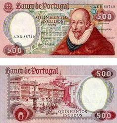 Portugal 500 Escudos Ouro 1979 Obverse: Francisco Sanches, Portuguese or Galician philosopher of Jewish origin; Old town plan of Braga; Reverse: century view of Braga; Watermark: Portrait of Francisco Sanches. Singapore Dollar, Money Notes, Notes Design, Nostalgia, World Coins, Rare Coins, Vintage World Maps, 17th Century, Stamps
