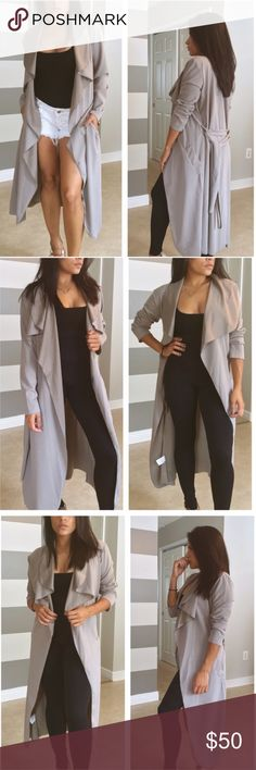 COMING SOON• Mauve stone luxe duster Brand new without tags. Such an amazingly chic duster that feels so great on! Silky soft on the inside. Comes with sash to adjust your fit easily. I loved wearing this with the sleeves scrunched up. Can be dressed up or down so easily👍🏼  •Modeling size- S/M •My stats- 5' 108lbs 34C •Prices are Firm •NO Trades •Non smoking home Jackets & Coats