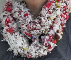 Hand Knit Infinity Cowl Scarf in Off White and Red by bpenatzer, $68.00