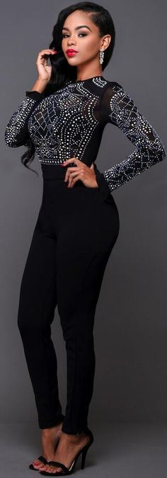 3d9604a8dc3 Hot Drilling Long Sleeve High Neck Long Jumpsuits