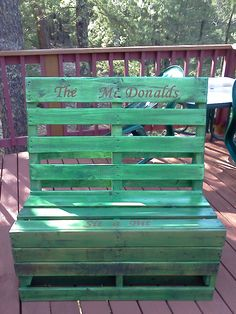 The McDonalds bench we made out of two old pallets.