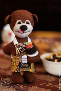 Felting Lion Joy | Коллекционные куклы ручной работы. Ярмарка Мастеров - ручная работа Игрушка валяная Миша - юный кулинар. Handmade.