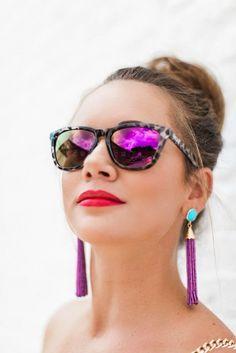 Nectar Sunglasses / Golden Strand Jewelry Tassel Earrings (Etsy) // KBStyled.com