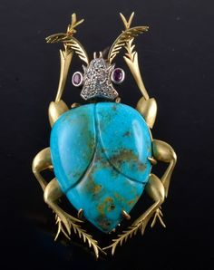 Tourquiise yellow gold gemset -(dia. and ruby) beetle brooch, 2 1/2 inches x 1 1/2 inches, 24.3 grams