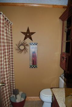 Primitive Crafts or decor / Country Girl at Home: Primitive Bathroom .Metal bucket for washcloth by tub! Primitive Homes, Primitive Crafts, Country Primitive, Primitive Shelves, Primitive Antiques, Primitive Bathroom Decor, Rustic Bathrooms, Diy Bathroom Decor, Bathroom Ideas
