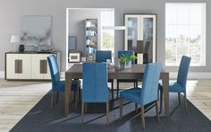 Bentley Designs City Weathered Oak and Soft Grey Dining Set - 6-8 Seater Extending Table with Steel Blue Taper Back Chairs
