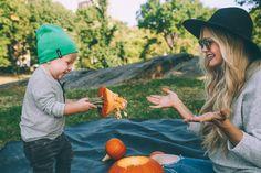 Barefoot Blonde carving pumpkins