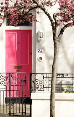 Bright pink door - I love the pink tree in bloom with it.