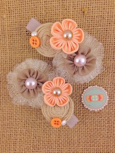Orange Gold Hairclip Baby Girl Hairclip by candybuttonusa