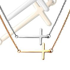 SP-527 Stainless Steel Sideways Cross Charm16 inches Necklace #New #Chain