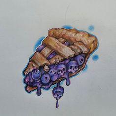 Blueberry Pie slice w/skulls – Tattoos – – Graffiti World Food Tattoos, Body Art Tattoos, Graffiti Drawing, Graffiti Art, Dark Art Drawings, Tattoo Drawings, Dessert Tattoo, Vexx Art, Desenho Tattoo
