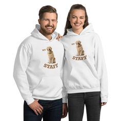 Everyone needs a cozy go-to cozy Golden Retriever Staff hoodie to curl up in, so go for one that's soft, smooth, and stylish. It's the perfect choice for cooler evenings! Beautiful Dog Breeds, Hoodies For Sale, Dog Wear, Dogs Golden Retriever, White Hoodie, Rib Knit, Graphic Sweatshirt, Unisex, Stylish