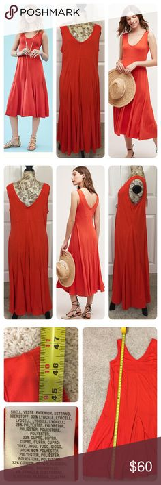 NWT!  Anthropologie Abroad Dress by Maeve New with tags! Anthropologie Abroad Dress by Maeve. Ribbed lyocell, cupro, polyester knit Slim silhouette with trumpet hem Pullover styling Machine wash. Described as red, but I'd say more of an orange/red. Anthropologie Dresses