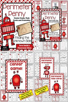 Perimeter Penny Mega Math Pack - Finding the Unknown Side for the Perimeter Printables, Task Cards and Center Game For 3.MD.D.8 ~ 50 Pages! #TPT $Paid