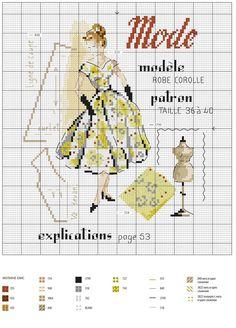 Схема вышивки крестом - девушка / Schematic cross stitch - a girl