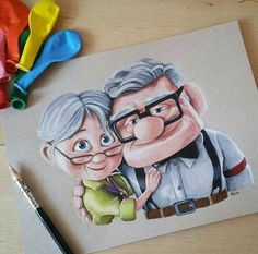up movie sketches Disney Drawings Sketches, Pencil Art Drawings, Cartoon Drawings, Cute Drawings, Up Pixar, Disney Up, Cute Disney, Cartoon Kunst, Cartoon Art