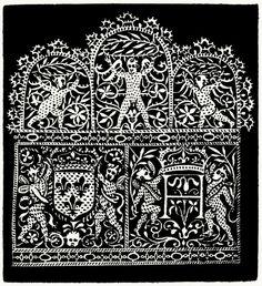 Reticella, plate B 2. From I singolari e nuovi disegni per lavori di bianchería (Remarkable and new designs for linen work), by Federico de Vinciolo, Bergamo, 1909. (This is a reprint of the 1606 edition of Les Singuliers et Nouveaux Pourtaicts, du...