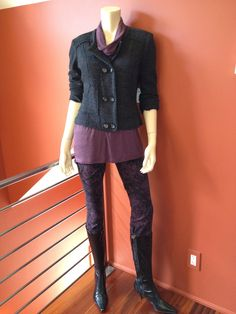 CAbi Twilight Jegging, Slouch Cowl Tee and our boiled wool My Fair Jacket. This piece is so incredibly versatile - wear it casual as here or wear it dressy or corporate with a skirt/dress pant.  At HartForFashion CAbi Studio.