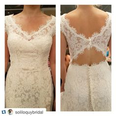 We love seeing our gowns on real brides #Lace #keyhole #dressfitting @soliloquybridal with @repostapp. ・・・ First fitting excitement! We love the custom changes this Soliloquy Bride has made to her gown. This dress has been modified to have illusion lace straps with a sweetheart neckline, and a gorgeous cut-out back.