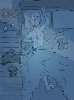 Self portrait with insomnia by Peter Slattery, via Behance