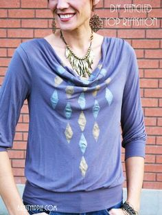 DIY Stenciled Knit top Refashion #paint #metallic