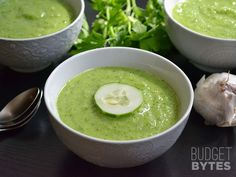 Green gazpacho is the perfect light, fresh, cold soup for summer. With cucumbers, bell pepper, avocado, and fresh herbs, it's full of amazing flavor!