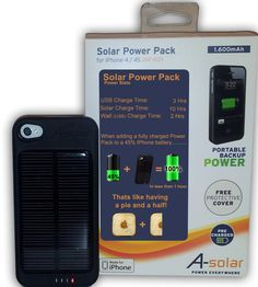 Iphone 4s Solar power pack phone case.