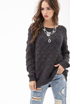 Wavy Knit Raglan Sweater #F21StatementPiece - http://AmericasMall.com/categories/juniors-teens.html