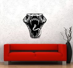 Wall Sticker Snake Head Poison Bite Attack Danger Venom Vinyl Decal (ed535)