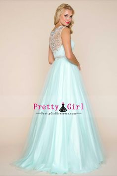 2017 Scoop Tulle A Line Prom Dresses With Beading Floor Length