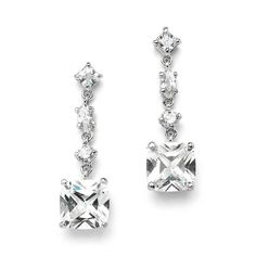 Ravishing Cubic Zirconia Bridal Earrings with 2.5 Ct. Cushion Cut Dangles