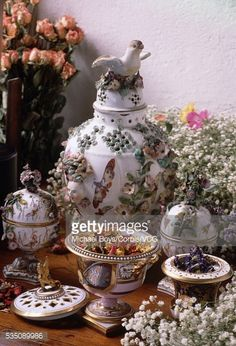 An arrangement of vases and pot-pourri holders, including a... #peshterabg: An arrangement of vases and pot-pourri holders,… #peshterabg