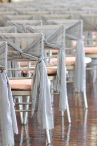 Love the style of these wedding chair sashes. www.vintageandlace.com