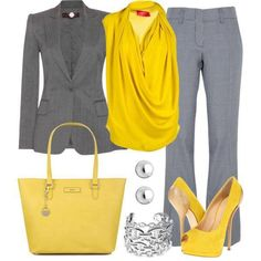 Yellow top & accessories with grey pant suit