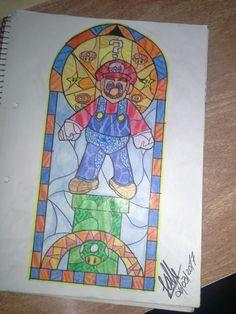 videojuegos_mario bros_dibujo_vitral