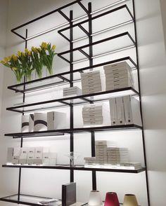 Luminous Stacking. MENSOLE shelving system with LED illuminated shelves by…