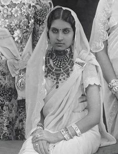Maharani wearing a collection of necklaces including a ruby chocker by Cartier