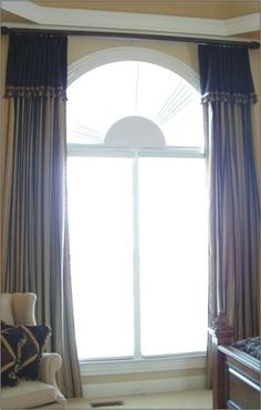 (add valence to cover shades) above arched window treatment for the dining  room. Loved how this changed the feel