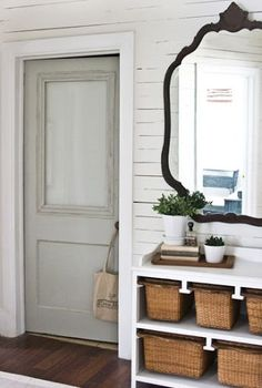 bathroom door with frosted glass, from The Lettered Cottage