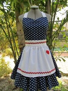 I Love Lucy Costume Apron.. Vintage Inspired Sweetheart Style with a handmade Heart.. Navy Blue Fabric with white polka dots- Sale