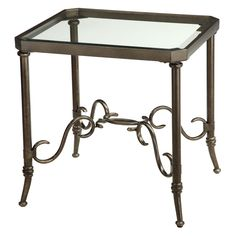 Have to have it. Stein World Somerset Rectangular Bronze Metal and Glass End Table - $179.99 @hayneedle.com